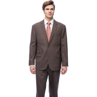 Caravelli Men's Brown Polyester-blend Plaid Suit