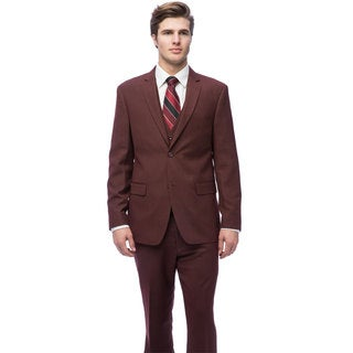 Caravelli Men's Burgundy Slim Fit Vested Suit