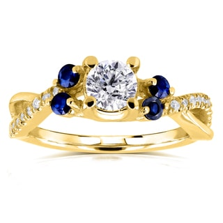 Annello 14k Yellow Gold 4/5ct TCW Diamond and Blue Sapphire 5 Stone Ring (H-I, I1-I2)