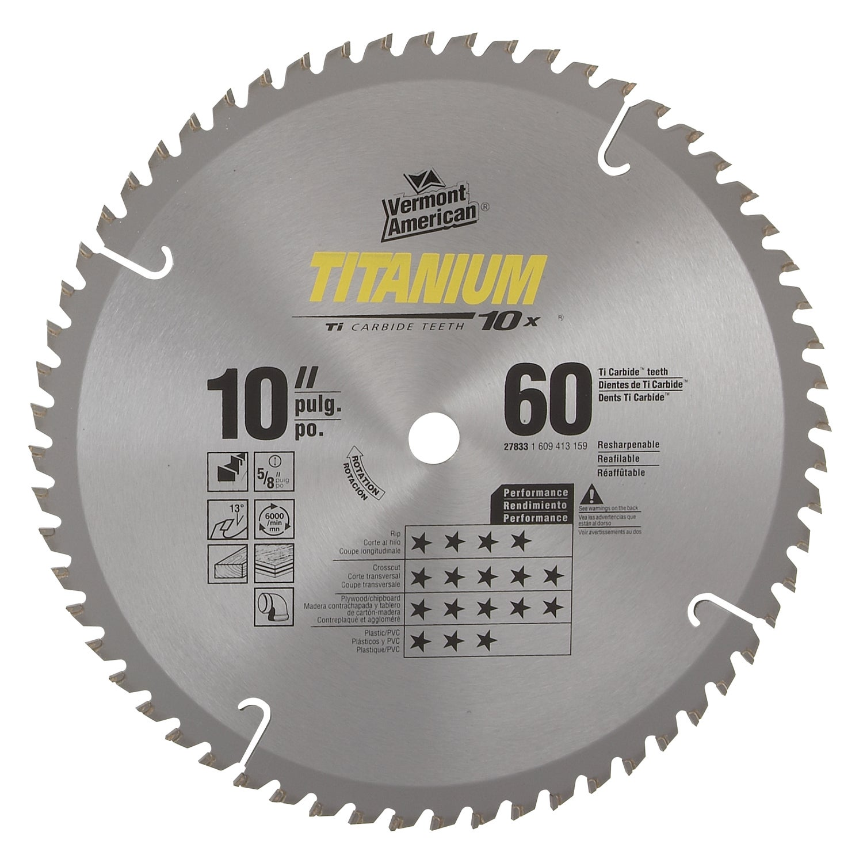 "Vermont American 27833 10"" 60 TPI 10X Titanium (Silver) C..."