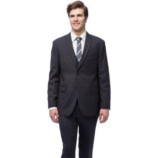 Caravelli Men's Black Windowpane Vested Slim Fit Suit