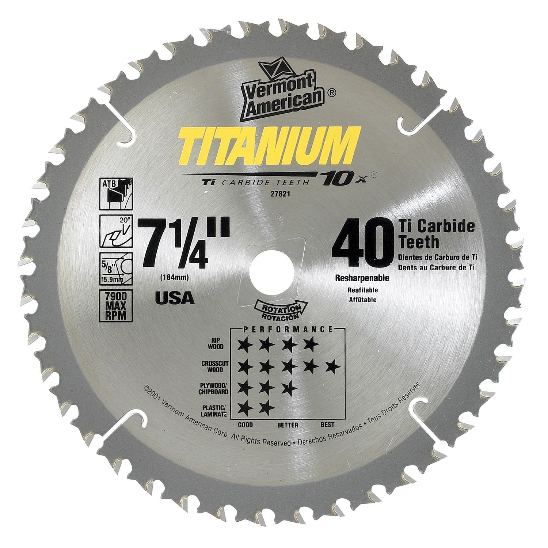 """Vermont American 27821 7-1/4"""" 40 TPI 10X Titanium (Silver..."""