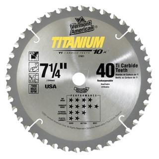 "Vermont American 27821 7-1/4"" 40 TPI 10X Titanium Carbide Circular Saw Blades"