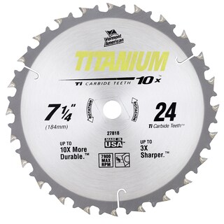 "Vermont American 27818 7-1/4"" 24 TPI 10X Titanium Carbide Circular Saw Blades"