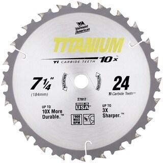 "Vermont American 27817 7-1/4"" 24 TPI 10X Titanium Carbide Circular Saw Blades"