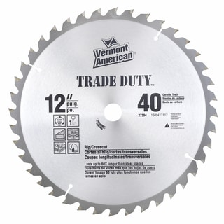 "Vermont American 27204 12"" 40 Tooth Carbide Trade Duty Circular Saw Blade"