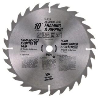 "Vermont American 27176 10"" 28 TPI Fast-Cut Rip Carbide Circular Saw Blades"