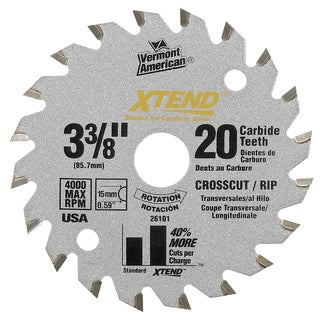 "Vermont American 26101M 3-3/8"" 20T XTEND Carbide Circular Saw Blade"