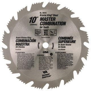 "Vermont American 25216 10""64T Krome King Master Combination Circular Saw Blade"