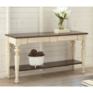 The Gray Barn Willow Springs Walnut/ Antique White Finish Wood and Veneer Sofa Table