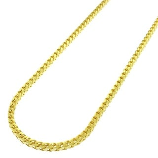 """Sterling Silver Italian 2.5mm Solid Franco Square Box Link 925 Yellow Gold Plated Necklace Chain 16"""" - 30"""""""