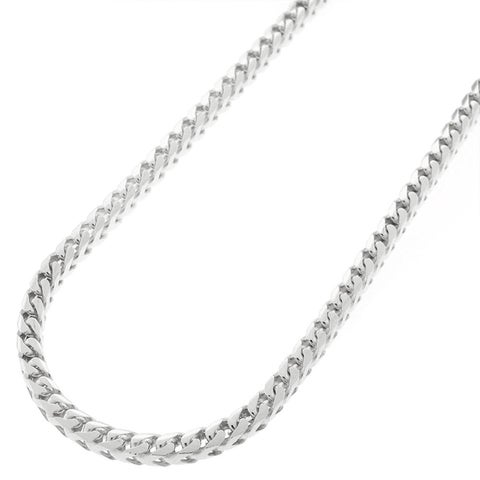 """Sterling Silver Italian 3mm Solid Franco Square Box Link 925 Rhodium Necklace Chain 16"""" - 30"""""""