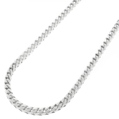 """Authentic Solid Sterling Silver 3mm Franco Square Box Link .925 Rhodium Heavy-Duty Necklace Chain 16"""" - 30"""", Made In Italy"""