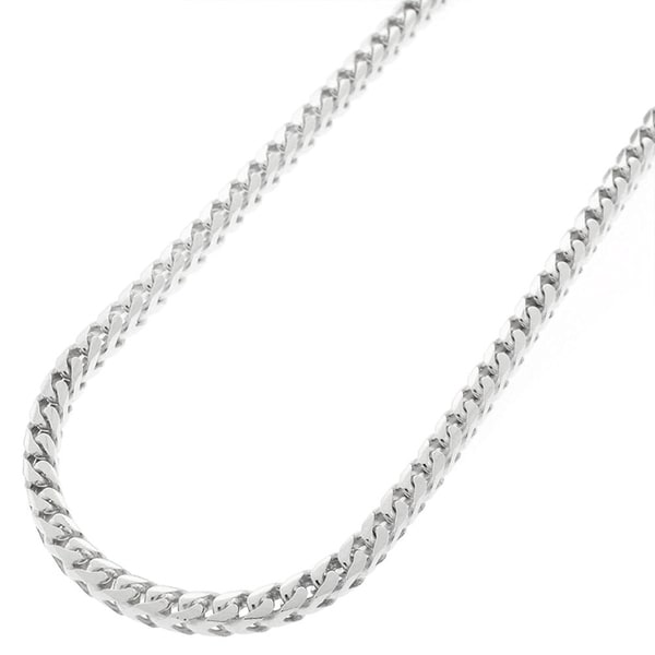 "Sterling Silver Italian 3mm Solid Franco Square Box Link 925 Rhodium Necklace Chain 16"" - 30"""