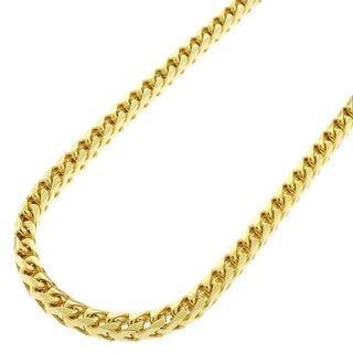 Yellow Gold over Silver 3.5mm Solid Franco Necklace