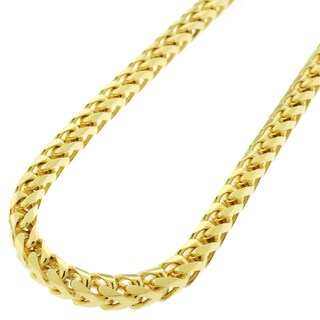 "Sterling Silver Italian 5mm Solid Franco Square Box Link 925 Yellow Gold Plated Necklace Chain 24"" - 40"""
