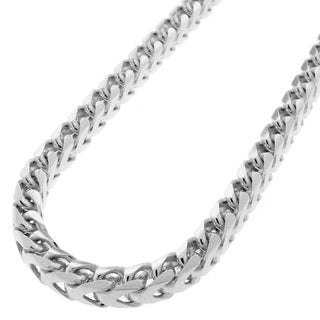 Sterling Silver 5.5mm Solid Franco Rhodium-plated Chain