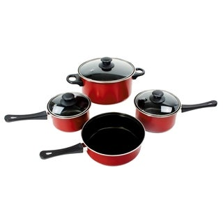 Carbon Steel Nonstick Red Pots and Pans (Set of 7)