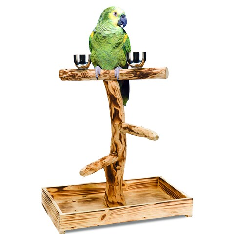 Penn Plax Bird Tree Perch with Stainless Steel Cups for Large Birds
