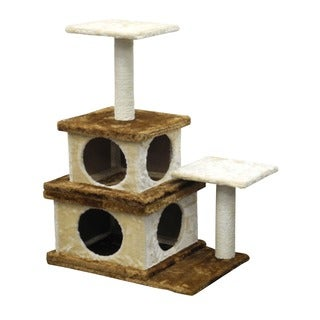 Homessity 32-inch Lightweight Beige and Brown 2 Condo Cat Tree