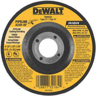 "DeWalt DW8434 4-1/2"" X 1/8"" X 7/8"" Pipeline Cutting Wheel"