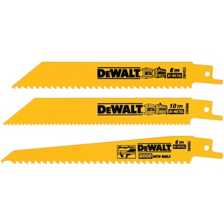 "Dewalt DW4853 3 Piece 6"" Multi Cutting Reciprocating Saw Blade Set"