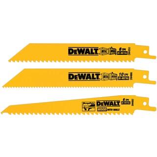 """Dewalt DW4853 3 Piece 6"""" Multi Cutting Reciprocating Saw Blade Set - Yellow"""