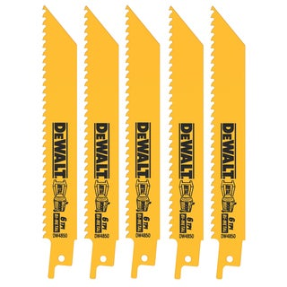 "Dewalt DW4850 6"" 6 TPI Multi Purpose Bi-Metal Reciprocating Saw Blades"
