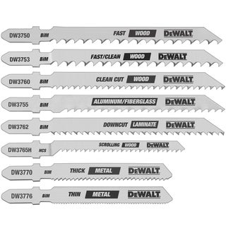Dewalt DW3791 8 Piece Assorted T-Shank Jig Saw Blade Set