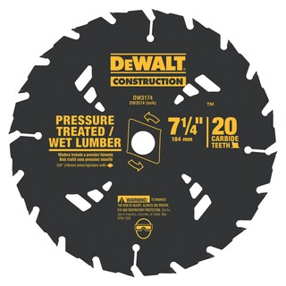 "DeWalt DW3174 7-1/4"" 20 TPI Pressure Treated & Wet Lumber Saw Blade"