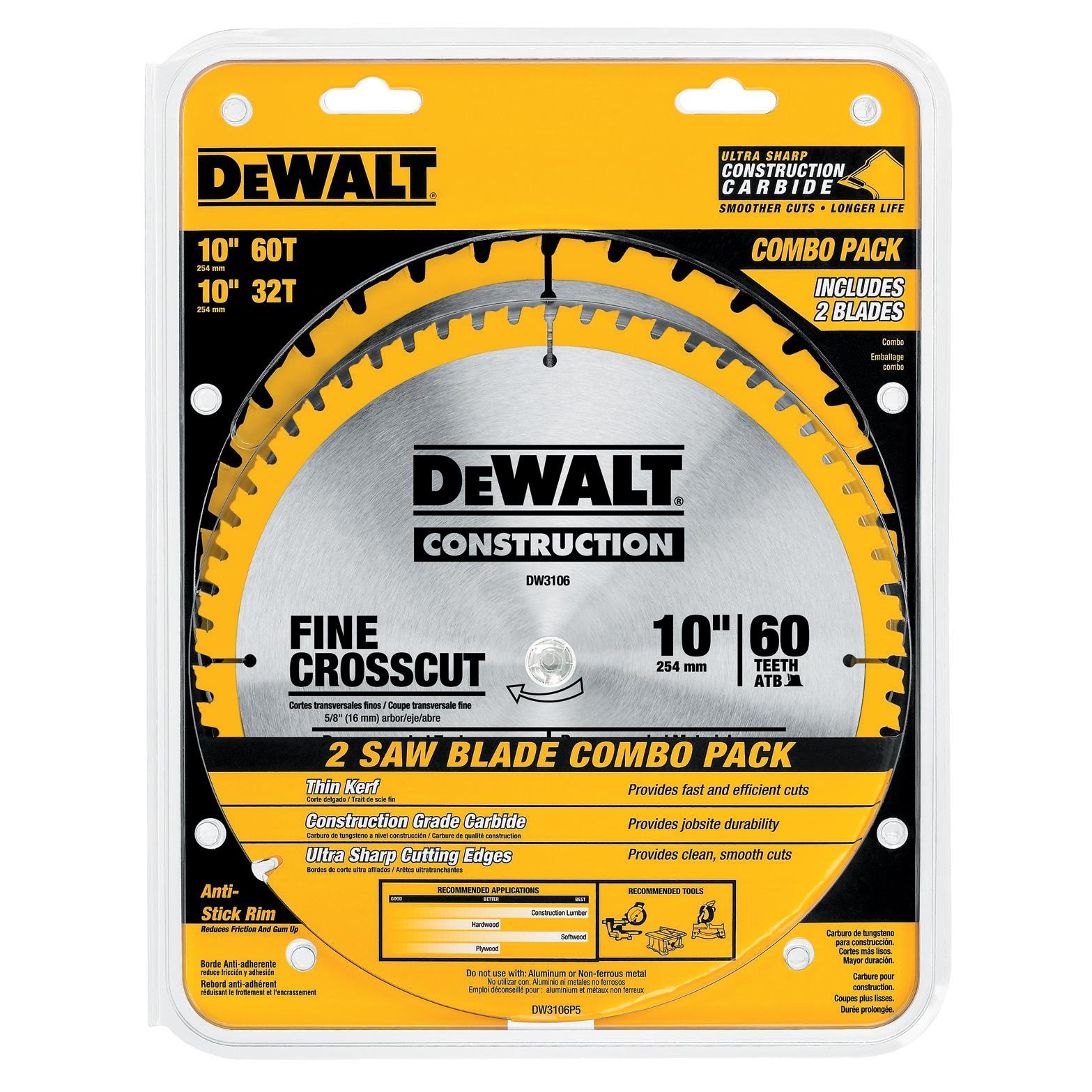 """Dewalt DW3106 10/"""" 60 T Fine Crosscut Circular Saw Blade"""