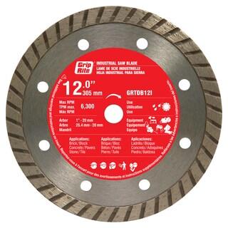 "Grip Rite GRTDB12I 12"" Industrial Turbo Rim Diamond Blade"