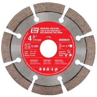 "Grip Rite GRSDB45I 4.5"" Silver Industrial Segmented Diamond Blade"
