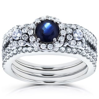 Annello by Kobelli 14k White Gold 1 2/5ct TCW Sapphire and Diamond 3 Piece Bridal Rings Set