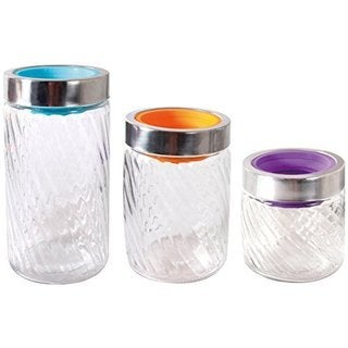 Mason Jars Swirl Design with Colored Lids (Pack of 6)