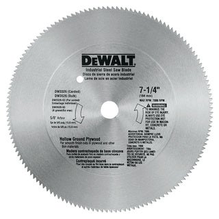 "Dewalt DW3326 7-1/4"" 140T 5/8"" Hallow Ground Steel Circular Saw Blade"