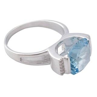 Handmade Sterling Silver 'India Royal' Topaz Zirconia Ring (India)