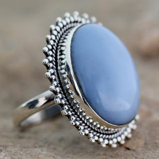 Handcrafted Sterling Silver Blue Opal Ring (India)