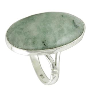 Sterling Silver 'Pale Green Tonalities' Jade Ring (Guatemala)