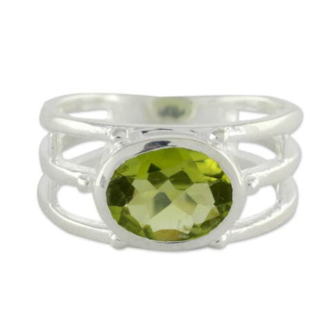 NOVICA Handmade Sterling Silver Forest Glow Peridot Ring (India)