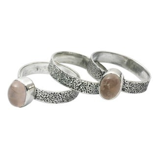 Set of 3 Sterling Silver 'Flame of Love' Rose Quartz Rings (India)
