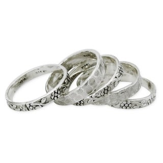 Set of 5 Handcrafted Sterling Silver 'Versatility' Rings (India)
