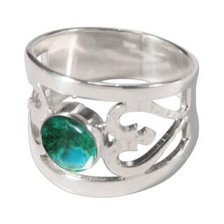 Handmade Sterling Silver 'Inseparable Love' Chrysocolla Ring (Peru)