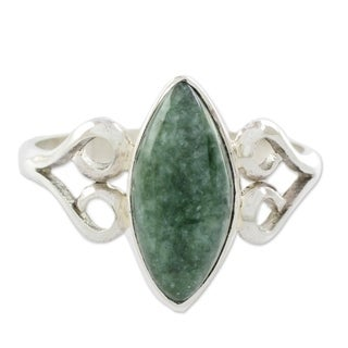 Sterling Silver 'Two Hearts in Green' Jade Ring (Guatemala)