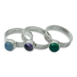 Handmade Set of 3 Sterling Silver 'Inspirational' Multi-gemstone Rings (India)