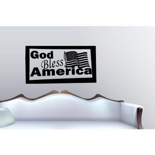 God Bless Flag America Wall Art Sticker Decal