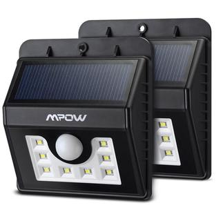 Mpow Bright Solar-powered Weatherproof Outdoor LED Motion Sensor Security Light (Pack of 2) - Black