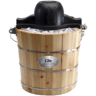 MaxiMatic Elite Gourmet 4-Quart Old-Fashioned Pine-Bucket Electric/Manual Ice Cream Maker