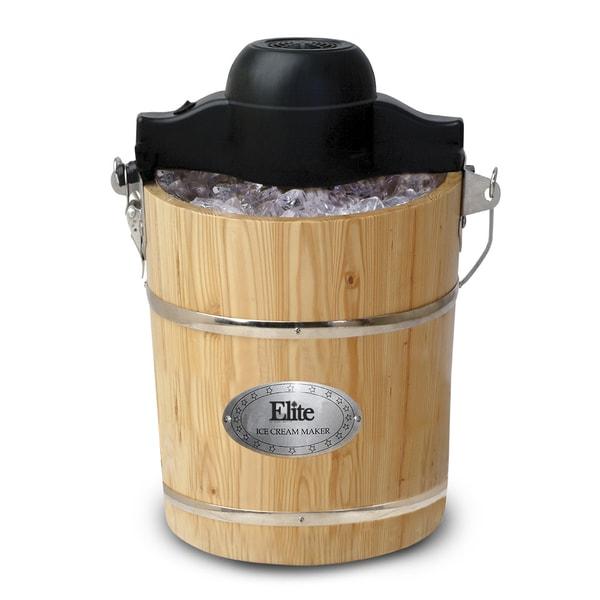 Elite Ice Cream Maker MaxiMatic Elite Gourmet 6-Quart Old-Fashioned Pine-Bucket ...