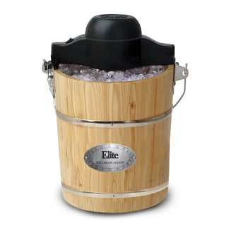 MaxiMatic Elite Gourmet 6-Quart Old-Fashioned Pine-Bucket Electric/Manual Ice-Cream Maker